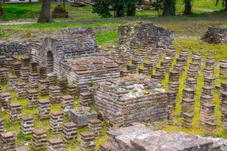 Ancient ruins in the Dion Archeological Site in Greece 스톡 콘텐츠