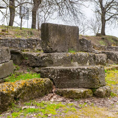 Nature and ruins in the Dion Archeological Site in Greece