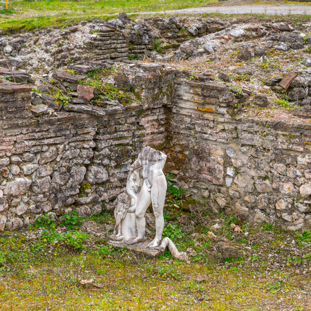 Ancient ruins in the Dion Archeological Site in Greece Stock Photo