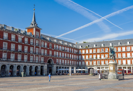 Plaza Mayor, der zentrale Platz in Madrid, Spanien Standard-Bild - 91743149