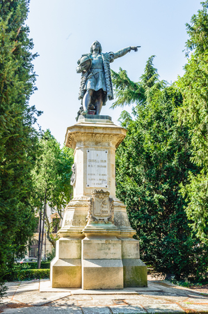 Cristobal Colon monument in Salamanca, Spain Stock Photo