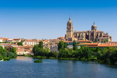 Old City of Salamanca, and river Tormes, Salamanca, Spain