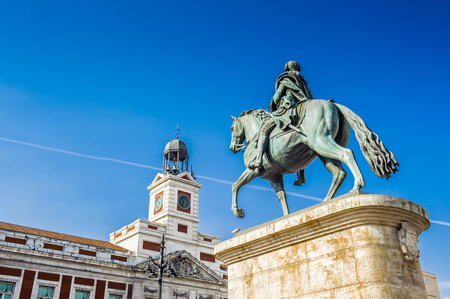 King George III and the Post office, Puerta del Sol, Madrid, Spain Stock Photo - 91794090