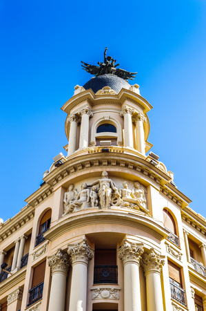Hotel with a statue of an angel, Valladolid, Spain