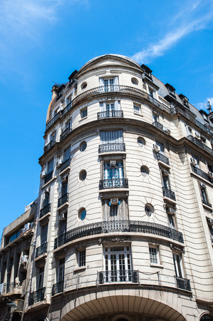 Building of the Avenida del Libertador (Liberator Avenue)  is one of the principal thoroughfares in Buenos Aires, Argentina. It extends 25 km to north Stock Photo