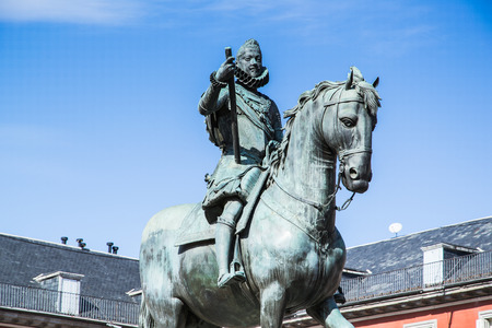 Bronze statue of King Philip III  on the Plaza Mayor, Madrid, Spain. It's the Spanish Property of Cultural Interest
