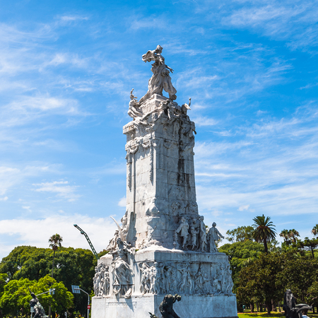 Statue of the Avenida del Libertador (Liberator Avenue) which is one of the principal thoroughfares in Buenos Aires, Argentina. It extends 25 km to north