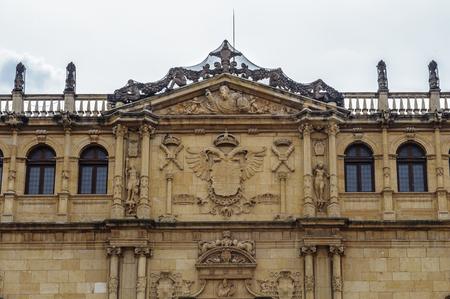 Facade of the old Alcala University, Alcala de Henares, Spain