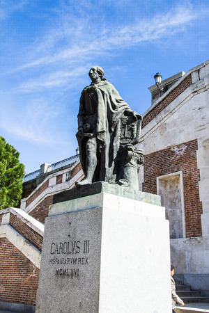 Statue of Carlos III at the Sabatini Garden near the Palacio Real (Royal Palace), Madrid, Spain Editorial