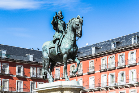 Bronze statue of King Philip III  on the Plaza Mayor, Madrid, Spain. Its the Spanish Property of Cultural Interest