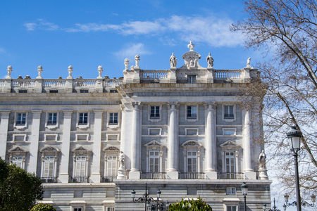 Part of the Palacio Real, Madrid, Spain. Royal Palace is the official residence of the Spanish Royal Family