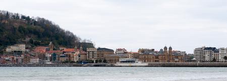 Panorama of the Bay de la Concha, San Sebastian, Basque Country, Spain. Imagens
