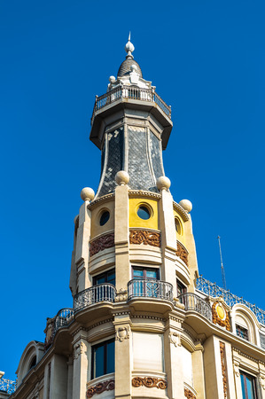 Architecture of the Via Laietana in Barcelona, Spain. Via Laietana was projected in 1879 and its a a major thoroughfare