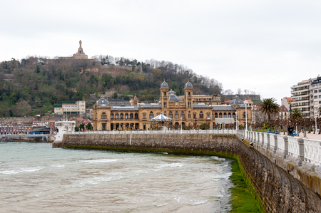 City hall of San Sebastian. Bay de la Concha, San Sebastian, Basque Country, Spain