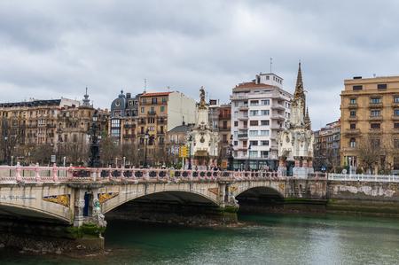 Maria Cristina Bridge over the river Urumea, San Sebastian, Spain. Bridge was inaugurated on the January 20, 1905
