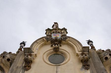 Column of the Maria Cristina Bridge over the river Urumea, San Sebastian, Spain.