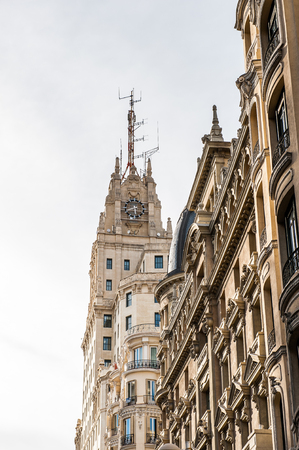 Architecture of the Gran Via street (Great Way), Madrid, Spain.