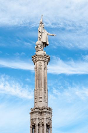 Monument to Christopher Columbus on the Colon Square (plaza de Colon) in Madrid, Spain.