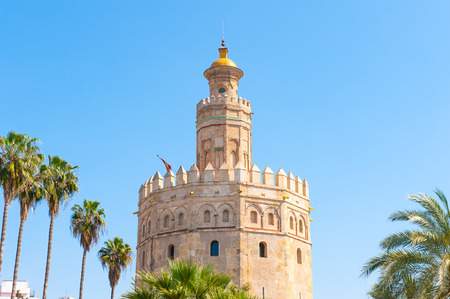 Torre de Oro (Golden Tower), a dodecagonal military watchtower in Seville, Spain