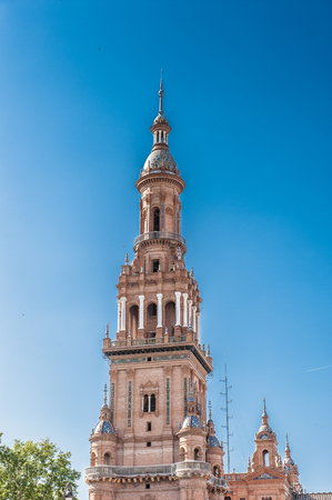 Central building at the Plaza de Espana in Seville, Andalusia, Spain. Its example of the Renaissance Revival style in Spanish architecture.