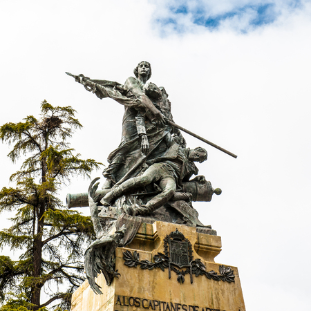 Monument in front of the Alcazar castle in Segovia, Spain Editorial