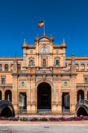 Central building main entrance at the Plaza de Espana in Seville, Andalusia, Spain. Its example of the Renaissance Revival style in Spanish architecture.
