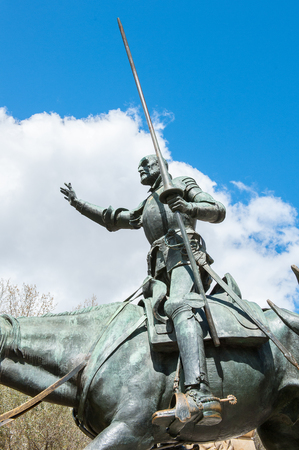Sculpture of Don Quixote on the Plaza de Espana, Madrid, Spain. Fictional character of Miguel Cervantes novel,  who was a Spanish novelist, poet and playwright