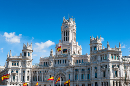 Cibeles Palace (Palacio de Cibeles), Madrid, Spain. It was home to the Postal and Telegraphic Museum until 2007. Spanish Property of Cultural Interest Editorial