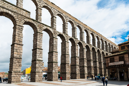 Roman Aqueduct of Segovia, Spain.