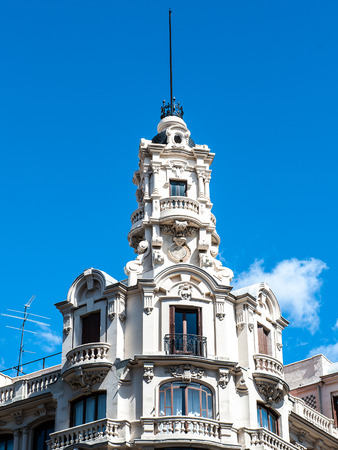 Architecture of the Gran Via, Madrid, Spain. Stock Photo