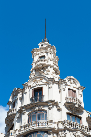 Architecture of the Gran Via, Madrid, Spain. Editorial