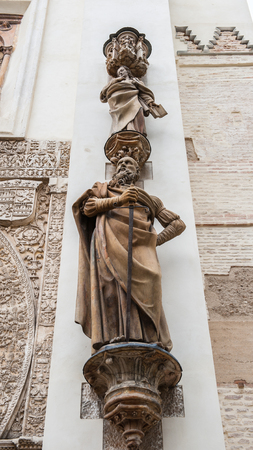 Statue on the Seville Cathedral, Roman Catholic cathedral in Seville,Spain.