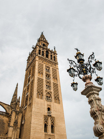 Giralda, a former minaret that was converted to a bell tower for the Cathedral of Seville in Seville.