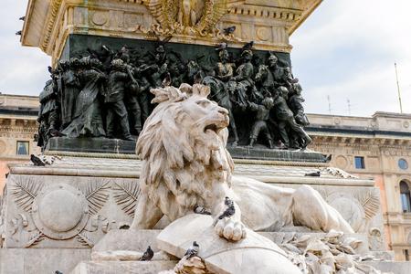 Monument to Vittorio Manuele II at the Piazza di Duomo di Milano (Dome of Milan), Milan, Italy.