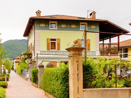 Architecture of Mezzocorona, Italy. A comune in Trentino in the northern Italian region Trentino-Alto Adige and Sudtirol Stock Photo