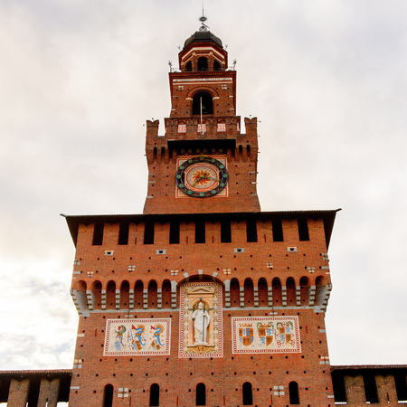 Tower of the Sforza Castle (Castello Sforzesco), a castle in Milan, Italy. It was built in the 15th century by Francesco Sforza, Duke of Milan Editorial