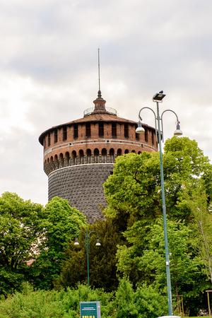 Sforza Castle (Castello Sforzesco), a castle in Milan, Italy. It was built in the 15th century by Francesco Sforza, Duke of Milan Editorial
