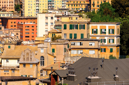 Architecture of the Old Port area of Genoa. Genoa is the capital of Liguria and the sixth largest city in Italy Banco de Imagens