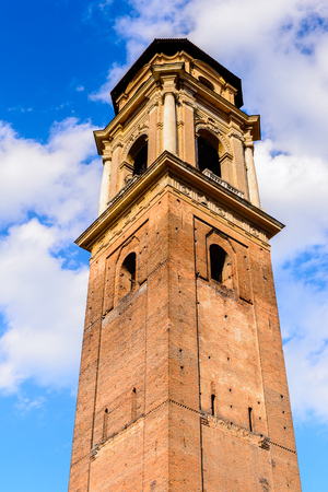 Belltower of the Turin Cathedral (Duomo di Torino), built in 1470. It is the Chapel of the Holy Shroud (the current resting place of the Shroud of Turin)