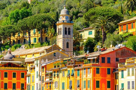 Portofino, an Italian fishing village, Genoa province, Italy. A vacation resort with a picturesque harbour and with celebrity and artistic visitors. Standard-Bild