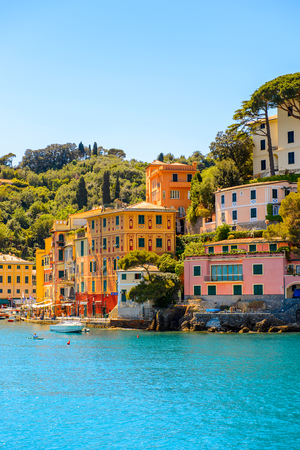 Sea way to Portofino, is an Italian fishing village, Genoa province, Italy. A vacation resort with a picturesque harbour and with celebrity and artistic visitors.