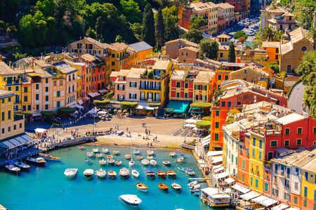 Aerial view of Portofino, an Italian fishing village, Genoa province, Italy. A vacation resort with a picturesque harbour and with celebrity and artistic visitors.