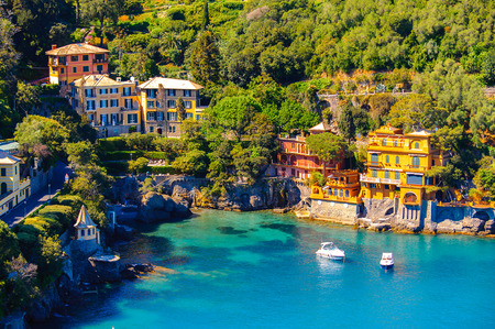 Aerial view of Portofino, an Italian fishing village, Genoa province, Italy. A vacation resort with a picturesque harbour and with celebrity and artistic visitors. Editorial