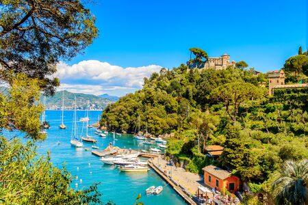Harbour of Portofino, is an Italian fishing village, Genoa province, Italy. A vacation resort with a picturesque harbour and with celebrity and artistic visitors.