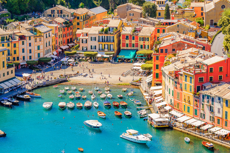 Portofino, an Italian fishing village, Genoa province, Italy. A vacation resort with a picturesque harbour and with celebrity and artistic visitors. Editorial