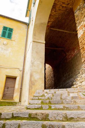 Stone architecture in Porto Venere, Italy. Porto Venere and the villages of Cinque Terre are the UNESCO World Heritage Site.