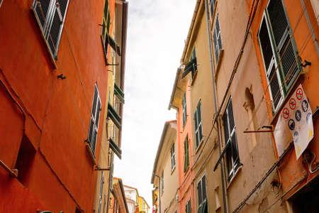 Street of Porto Venere, Italy. Porto Venere and the villages of Cinque Terre are the UNESCO World Heritage Site. Stock Photo