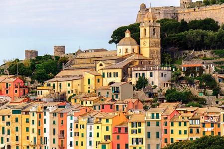 Architecture of Porto Venere, Italy. Porto Venere and the villages of Cinque Terre are the UNESCO World Heritage Site. Stock Photo