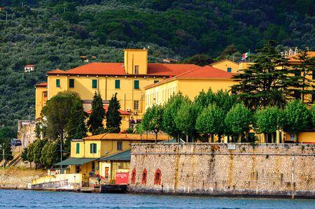 Architecture on the coast of the Ligurian sea near La Spezia, Italy. Editorial
