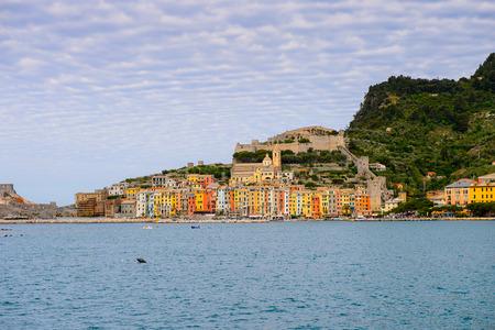 Panoramic view of Porto Venere, Italy. Porto Venere and the villages of Cinque Terre are the UNESCO World Heritage Site.